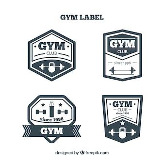 Set of gym labels with dumbbells