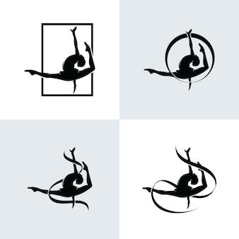 Set of gymnastics logo design templates