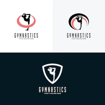 Set of gymnastics logo design templates