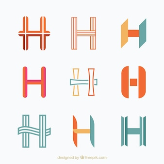 Set of h letter logotypes