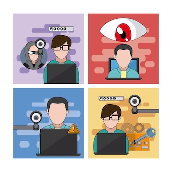 Set of hacker icons collection vector illustration graphic design
