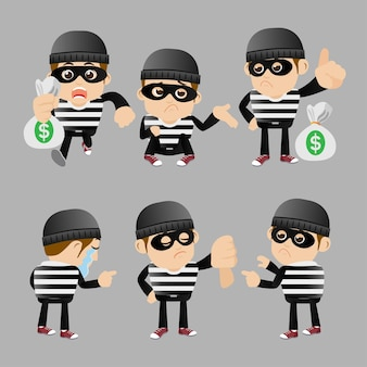 Set of hacker and thief in different poses