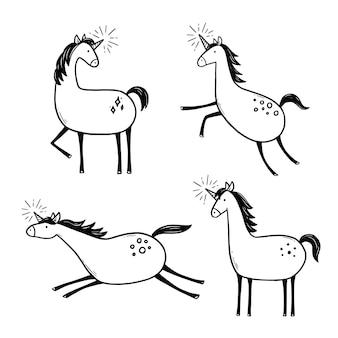 Set of had drawn cute unicorn