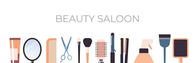Набор парикмахерских инструментов и аксессуаров коллекция салон красоты концепция горизонтальной векторные иллюстрации
