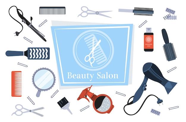 セット美容ツールとアクセサリーコレクション美容院コンセプト水平ベクトルイラスト