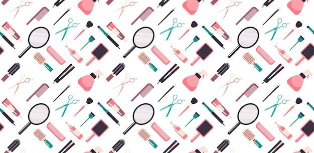 Набор парикмахерских инструментов и аксессуаров коллекция салон красоты концепция бесшовные горизонтальные векторные иллюстрации