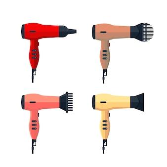 フラットの白い背景で隔離のドライヤーアイコンロゴを設定します。カラフルなヘアドライヤーブロー熱風、理髪店、ヘアスタイリングツール-ストックイラストのドライヤー