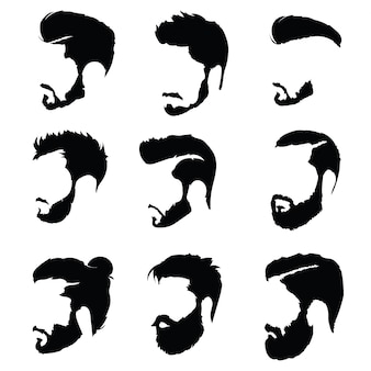 Set of hairstyles for men. collection of black silhouettes of hairstyles and beards.