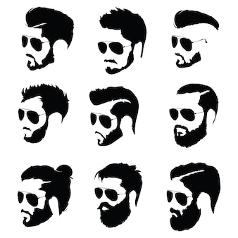 Set of hairstyles for men in glasses. collection of black silhouettes of hairstyles and beards.