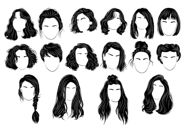 Set of hairstyles for women. collection of black silhouettes of hairstyles