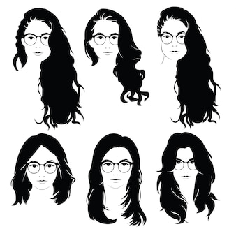 Set of hairstyles for women with glasses. collection of silhouettes of hairstyles for girls.