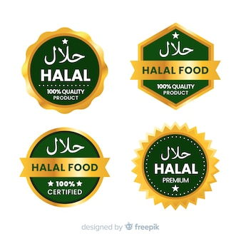 Set of halal food badges