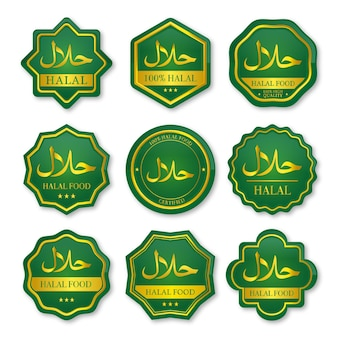 Set of halal food labels green and gold color