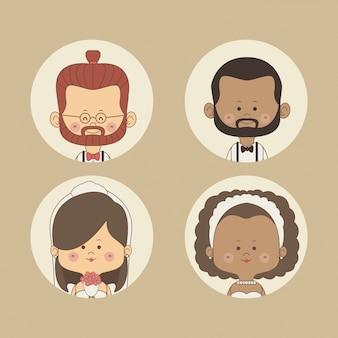 Набор половины тела невесты и жениха с красными волосами и другой брюнеткой в круговой рамке