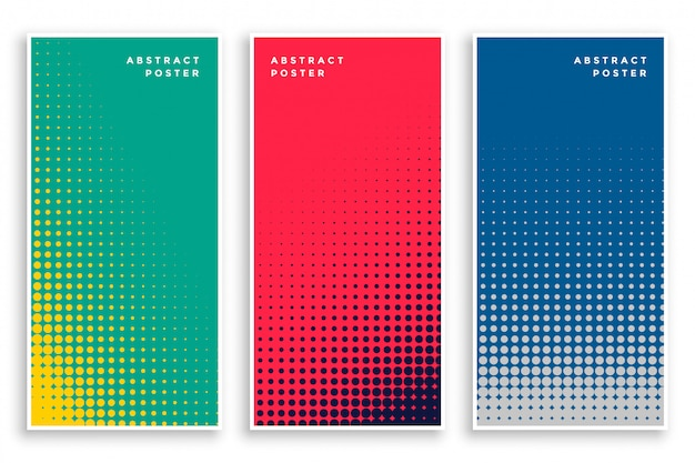 Set of halftone banners