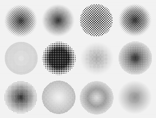 Set of halftone circles.
