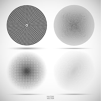 Set of halftone circular of the black dots on gray