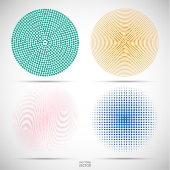 Set of halftone circular of the colored dots on grey
