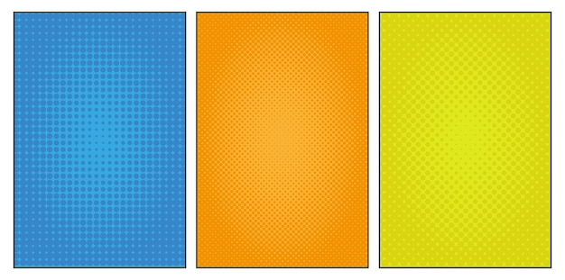 Set of halftone dots backgrounds