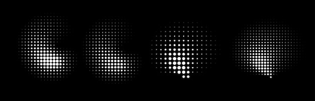 Set of halftone dots curved gradient pattern texture background.