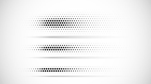 Set of halftone dots gradient pattern texture isolated