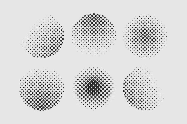 Set of halftone dots vintage design element in circle shape