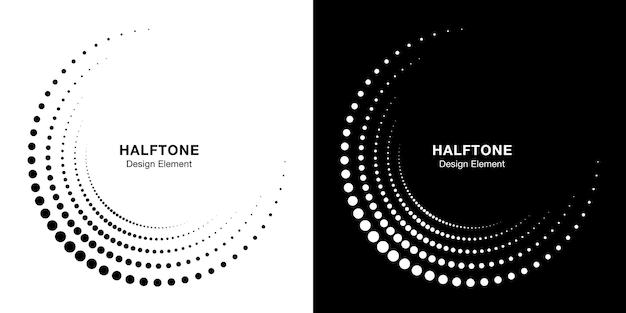 Set of halftone incomplete circle frame dots logo.