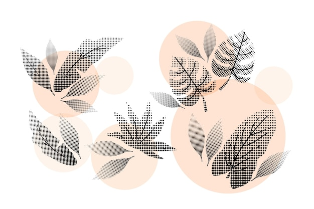 Set of halftone pink tropical flowers and leaves