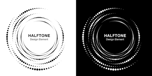 Set of halftone vortex circle frame dots. circular swirl design element. incomplete round border icon using halftone circle dots texture.