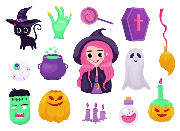 Set of halloweeen illustrations