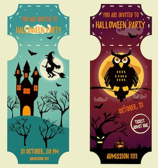 Set of halloween backgrounds with bright characters. party invitation template