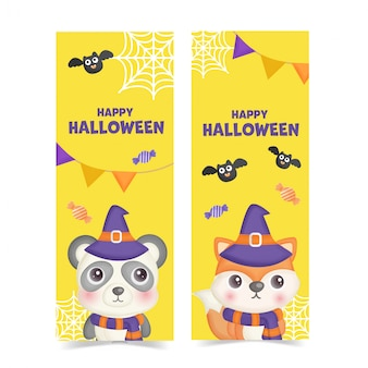 Set of halloween banners with cute animals.