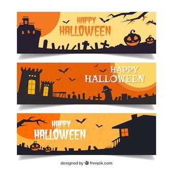 Set of halloween banners with dark landscapes Free Vector