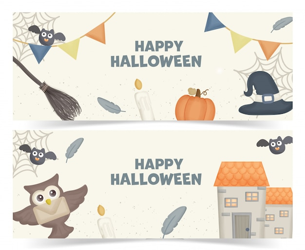 Set of halloween banners with halloween element.