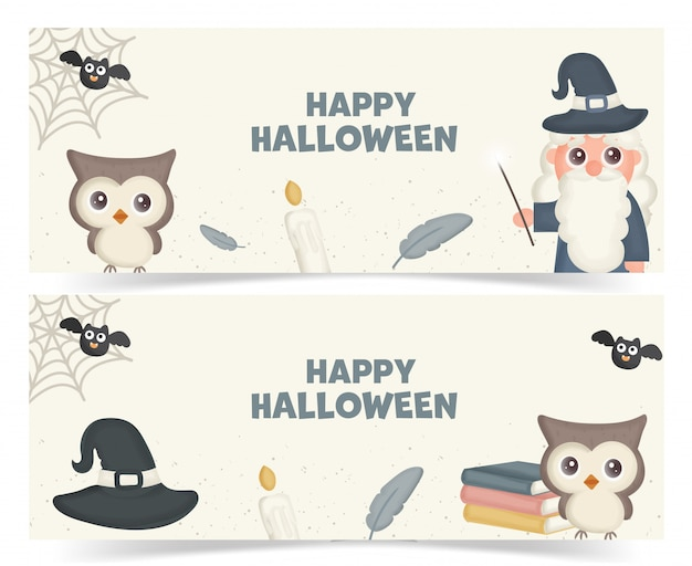 Set of halloween banners with a magic elements