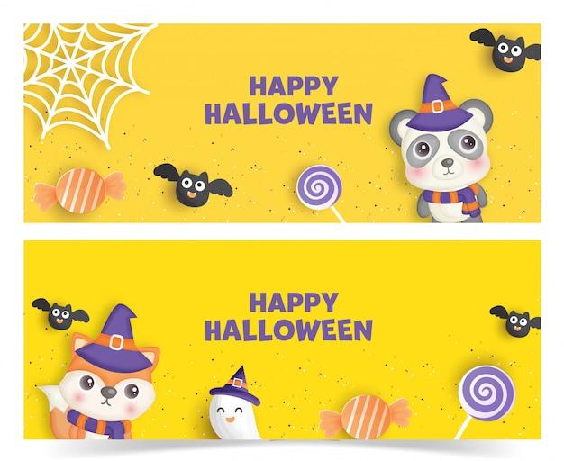 Set of halloween banners .