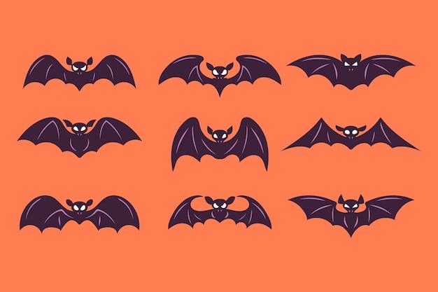 Set of halloween bat vector illustration