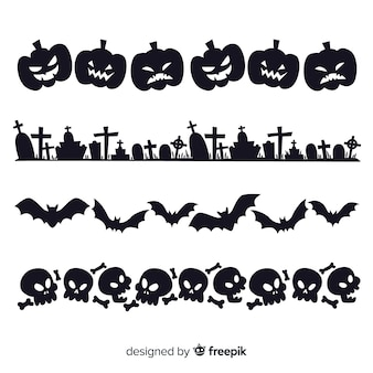 Set of halloween borders