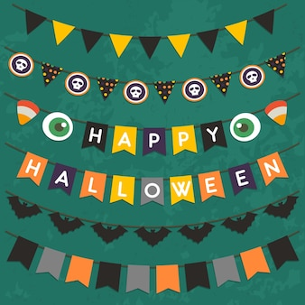 Set of halloween bunting for party