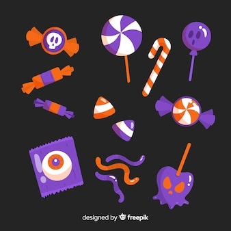 Set of halloween candies flat design