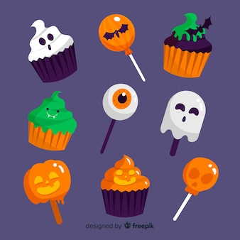 Set of halloween candies flat design