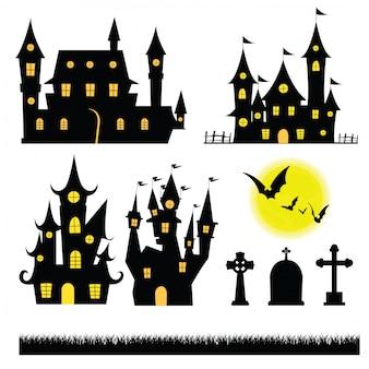 Set halloween castle graves bat