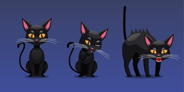 Set of halloween character illustration, black cat sit pose and angry pose, isolated on gradient background