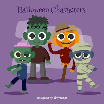 Set of halloween characters in cartoon style