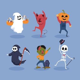Set of halloween characters dancing illustration