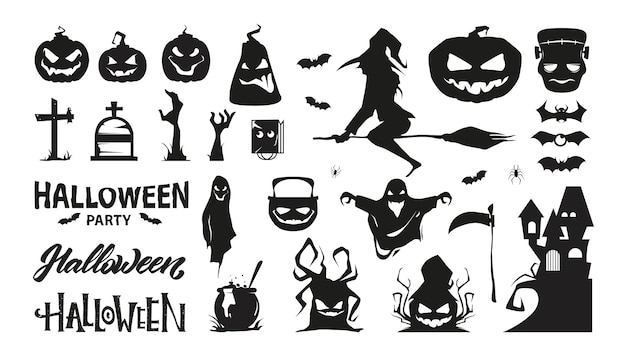 Set of halloween characters. silhouette collection. premium .