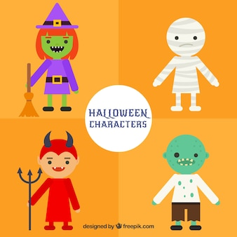 Set of halloween characters in a simple style