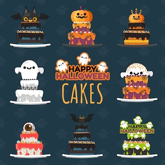 Set of halloween decorated cakes.
