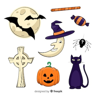 Set of halloween decorative elements on white background