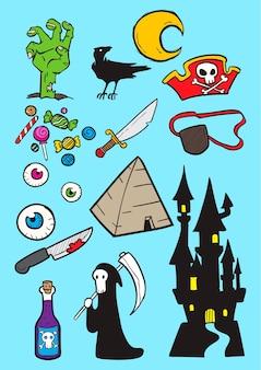 Set of halloween doodle art, halloween hand drawn vector art
